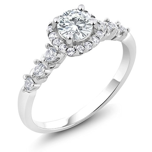 Moissanite Vintage Ring (925 Sterling Silver Created Moissanite Engagement Right-Hand Ring (0.50 Cttw, Available in size 5, 6, 7, 8, 9))