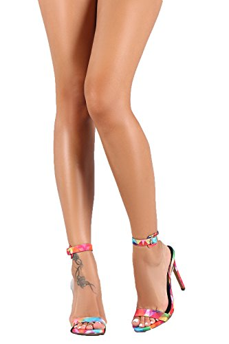 Strap Toe Stiletto Back Heel Jesse222 Strap Liliana Rainbow Ankle Clear Open q5WC4tA