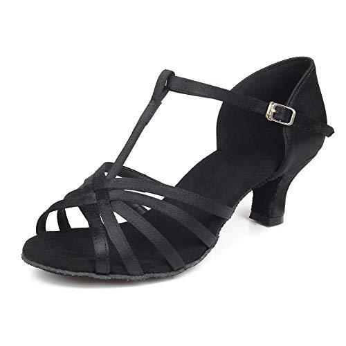 de Mujer Modelo Zapatos Zapatillas Negro Baile de 5cm Latino HIPPOSEUS Bachata ESQWH403 Baile aEUpqwxp