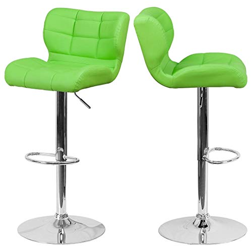Modern Mid-Back Design Bar Stools Tufted Covering Style Height Adjustable 360-Degree Swivel Seat Sturdy Steel Frame Chrome Base Dining Chair Pub Home Office Furniture – Set of 2 Green Vinyl #1981 Review