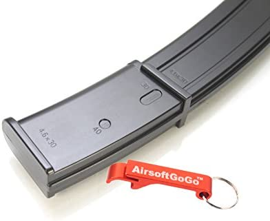 AirsoftGoGo mag 100rds MP7 Cargador para Airsoft Marui Standard/Well R4 AEP (Negro) Llavero Incluido