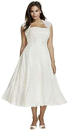 David's Bridal Tea-Length Plus Size Wedding Dress with ...
