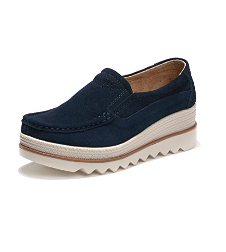 Rainrop Women Platform Slip On Loafers Shoes Comfort Suede Moccasins Fashion Casual Wedge Sneakers Blue 39 -
