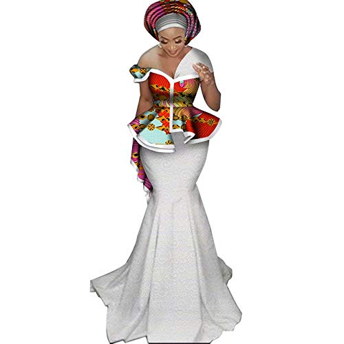 Womens Elegant African 3 Piece Skirt Set Peplum Tops & White Lace Mermaid Skirt - Evening Gown Multi Colored
