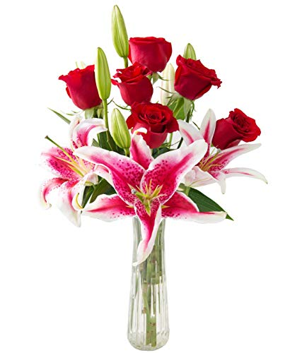 - KaBloom Adore Her Mixed Bouquet of Farm-Fresh Red Roses and Pink Lilies with Vase