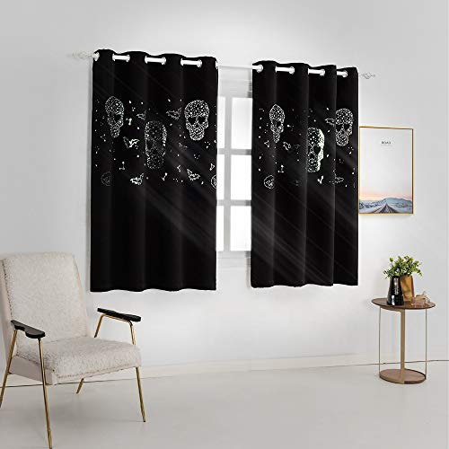 Uv Halloween Blackout (MANGATA CASA Halloween Blackout Curtains Cutout Grommet Thermal 2 Panels for Boys Bedroom, Skull & Star Window Curtain Darkening Drapes for Living Room(Black)