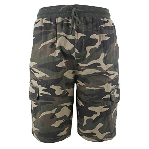 Yasumond Men's Casual Cargo Shorts Twill Cotton Elastic Waist Outdoor Athletic Lightweight Shorts Camo Green ()