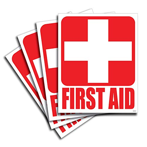 [해외](4) First Aid Kit Sticker Sign Self Adhesive Decal 5x4 for Car Office or Business Emergency First Aid Kit Sign / (4) First Aid Kit Sticker Sign Self Adhesive Decal 5x4 for Car, Office or Business Emergency First Aid Kit Sign