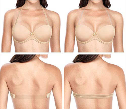 Women's Strapless Backless Push Up Bra Underwire Lightly Padded Bras with Convertible Halter Clear Straps Nude