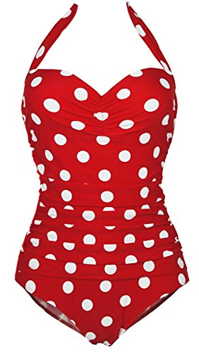 1950s Retro Red Vintage One Piece Monokini White Polka Swimsuits Swimwear -