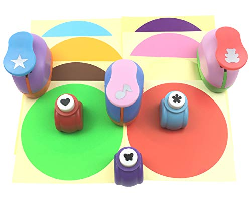 QsQueen Paper Punch Pack of 6 Hole Puncher 8 Sheets Sticker Paper Round 4'' Crafts Punch for Kids