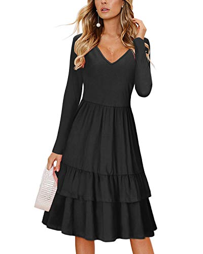 - OUGES Women's Summer V Neck Floral Sleeveless Ruffle Swing Casual Short Dress with Pockets(Black477,S)