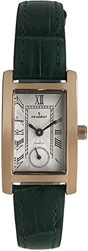 Peugeot Ladies Contour Tank Shape watch with Roman numerals, remote control and leather strap