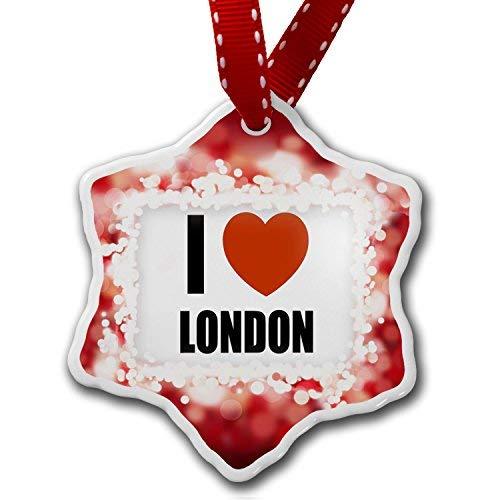 VinMea Star Shaped Porcelain Red Christmas Ornament I Love London, red - ()