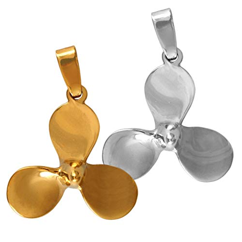 Handcrafted Ship's Propeller Pendant in 14k Yellow Gold or Sterling Silver