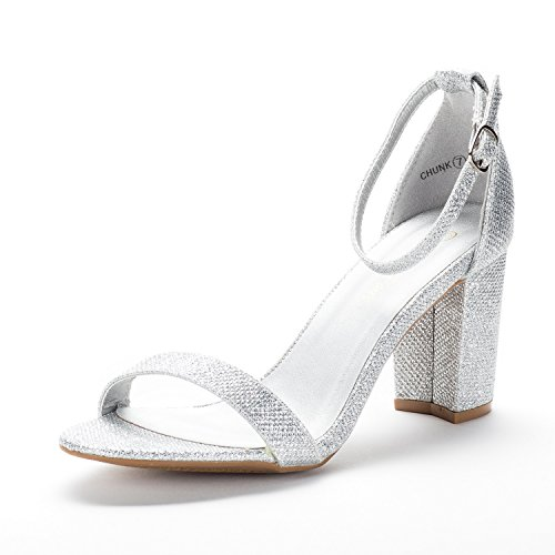 Silver Strappy Shoe - DREAM PAIRS Women's Chunk Silver Glitter Low Heel Pump Sandals - 5 M US