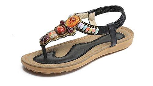 * Chics Sandales De Perles Strass Été Des Femmes Mall Sandales Plates Élastiques Chaussures (noir)