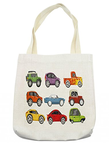 Lunarable Boy's Room Tote Bag, Race Cars Monster Truck Classics Urban Jeep Artistic Speed Automobiles Print, Cloth Linen Reusable Bag for Shopping Groceries Books Beach Travel & More, Cream