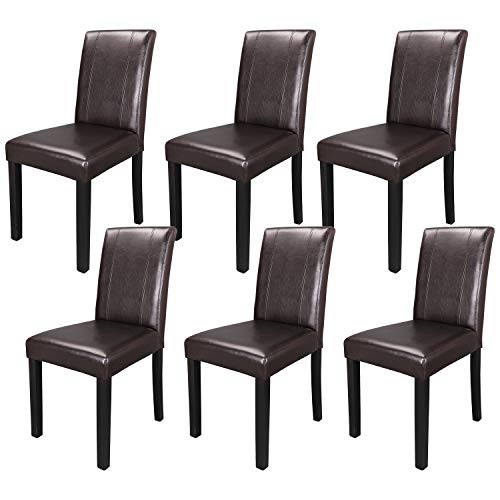 ZENY Set of 6 Solid Wood Leatherette Padded Parson Chair, Dining Chair Brown Furniture Urban Style ()