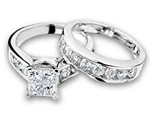 Princess Cut Diamond Engagement Ring and Wedding Band Set 1 Carat (ctw) in 14K White Gold, Size 9.5