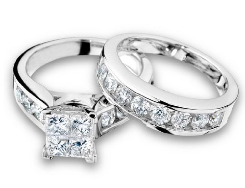 Princess Cut Diamond Engagement Ring and Wedding Band Set 1/2 Carat (ctw) in 10K White Gold, Size 6.5