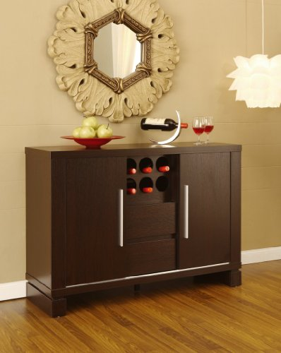 Dining Room Server Sideboard Buffet with Wine Storage , Cappuccino Finish by FurnitureMaxx