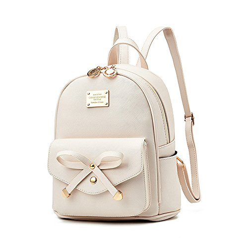 Girls Leather Mini Backpack Purse Cute Bowknot Fashion Small Backpacks Purses for Teen Women - White