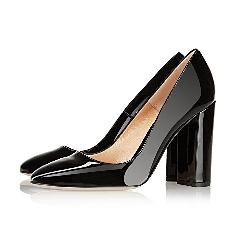 Modemoven Vrouwen Sexy Lakleer Ronde Neus Blok Hielenpompen Prachtige Avond Feest Stiletto Schoenen Zwart