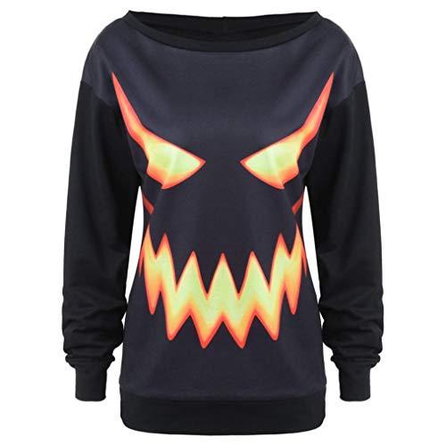 Women's Halloween Pumpkin Face Printed Sweatshirt Autumn Jumper Pullover Tops