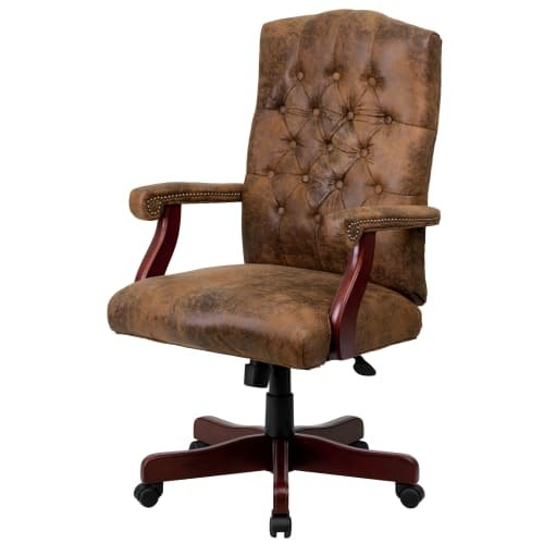 Delacora FF-802 26 Inch Wide Suede Executive Swivel Chair with Arms, Bomber (High Back Brown Bomber)