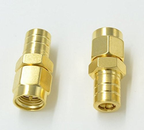 2pcs High value Pure brass SMA Male Plug to SMB Female Jack Plug Coaxial Adapter Connector