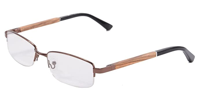 wood glasses frames for men clear lens eyeglasses semi rimless eyewear 1502c1 - Wooden Glasses Frames