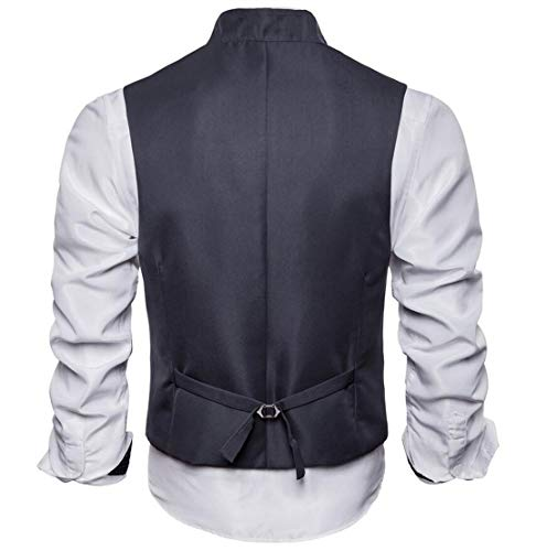 Domple Men Lapel Waistcoat Single-Breasted Business Suit Dress Vest Coat Deep Gray XS by Domple (Image #1)