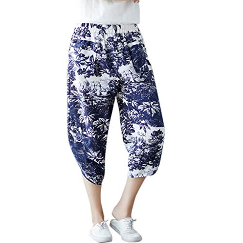 - FEDULK Womens Classic Retro Harem Pants Cotton Linen Loose Wide Leg Casual Comfy Pants(Blue, X-Large)