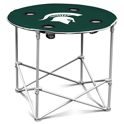Michigan State Spartans Collapsible Round Table with 4 Cup Holders and Carry Bag (Table State Tailgate)