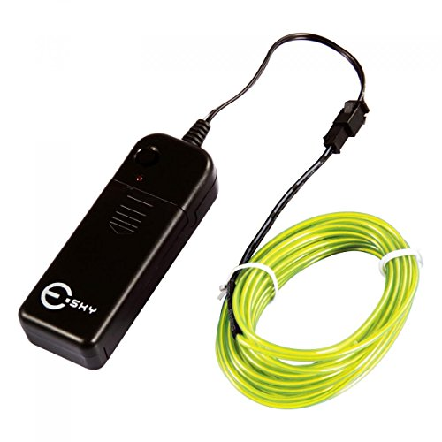 Esky 15ft Neon Light EL Wire Kit with Battery Pack Driver for Parties Halloween X-mas Decoration,Fluorescence Green (Esky Control)