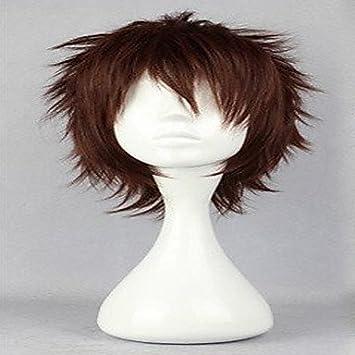 OOFAY JF® cortos pelucas de cabello pelucas populares peluca cosplay pelucas naturales del hombre marrón