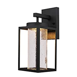 Garden and Outdoor Globe Electric Capulet LED Integrated Outdoor Indoor Wall Sconce, Black, Clear Bubble Glass Center Column, Dimmable, 12W… outdoor lighting