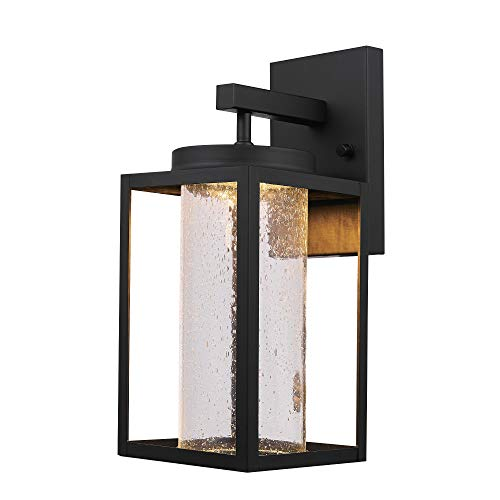 Globe Electric Capulet LED Integrated Outdoor Indoor Wall Sconce, Black, Clear Bubble Glass Center Column, Dimmable, 12W, 1150 Lumens 44359