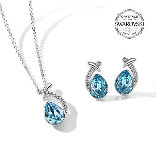 4e8b9c84538a Blue Swarovski Crystal Pendant And Stud Earrings Jewelry Set