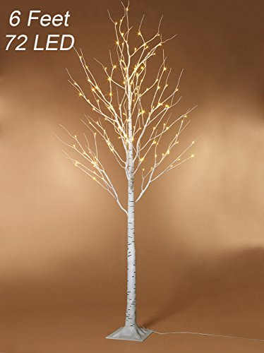 Birch Tree 6 Feet 72 LED for Home Wedding Festival Party Christmas Decoration (Birch Tree) (6' Led Tree)