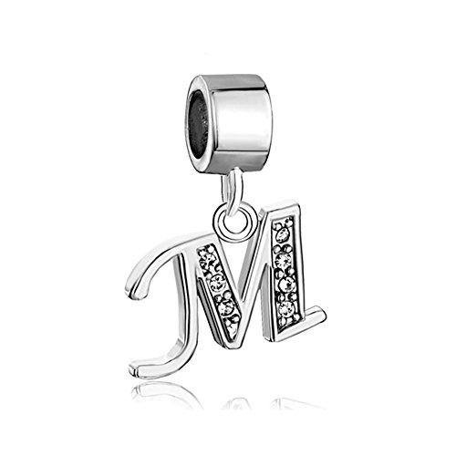 ThirdTimeCharm Dangle M Letter Initial Charm Clear Crystal Alphabet Beads For Charm Bracelets (Charms)