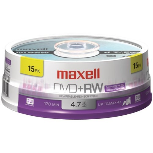 MAXELL 634046 4.7GB DVD+RW (15-ct Spindle) by Maxell