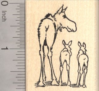 Moose Cow and Twin Calves Rubber Stamp