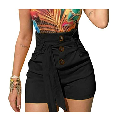 4 Colors Women's High Waist Shorts Slim Fit Fashion Casual Style Beltedstreetwear,Black,XXXL (Best Whisky Brands For Health)
