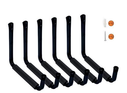 HauSun Heavy Duty 9 Arm Large Indoor Outdoor Storage Hooks Hangers with EVA Protector, Wall Mount Garage Hangers & Organizer for Ladders,Tools,Bikes,Jeep Door Hanger| 6 Pack