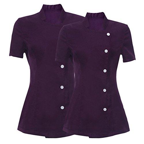 Baoblaze-2Pack-Deep-Purple-Salon-Spa-Nail-Bar-Beauty-Uniform-Summer-Shirt-Tunic-Coat-for-Women