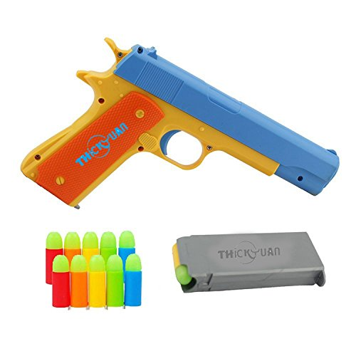 Thickyuan Classic Colt 1911 toy gun with soft bombs, pop-up magazines, outdoor toys suitable for outdoor sports -1:1 Replica of an M1911A1 Colt 45 and 5 Extra Bullets (Real Shotgun Shells)