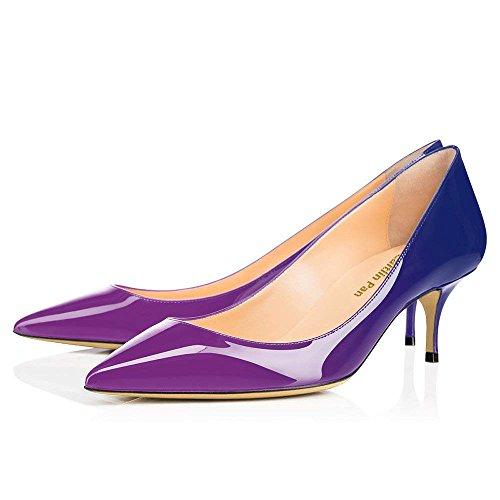Chaussures Violet Caitlin Fête 65MM Verni Chaton de Pointu Escarpins et Bout Travail Pan Femmes Robe Semelle Cuir Rouge Talon Bleu 4Tqp6