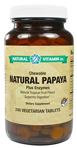 Natural Vitamin Co. - Chewable Natural Papaya Enzymes, Natural Tropical Fruit Flavor, Plant Enzyme Blend, 240 Tablets, 120 Servings, Gluten Free, Vegetarian, Vegan